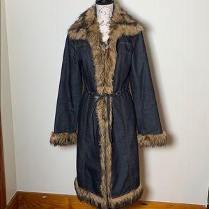 Vintage 2000 Express Denim & Faux Fur Jacket